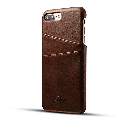 FQIAO iPhone 7 Plus Tasche, PU Leder Schützend Telefon Zurück Dauerhaft Hülle Schlank Passen mit Zwei Kartensteckplätze für Apple iPhone 7 Plus 5.5 Zoll 2016 Freisetzung-Braun