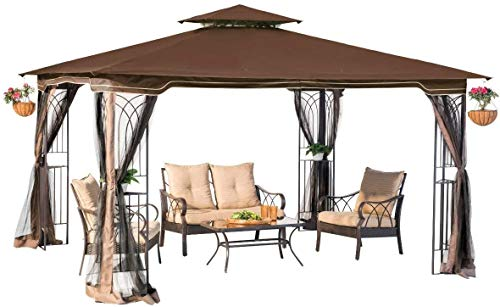 Sunjoy L-GZ798PST-E-A New Regency III Gazebo 10' x 12' with Mosquito Netting, Brown
