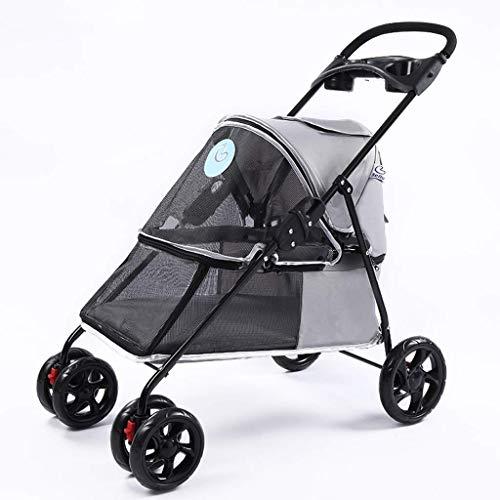 REXUN Pet Travel Stroller, Foldable Cat Dog Pram Buggy Trolley with Front Swivel Wheels, for Medium Small Pet, Max Loading 15kg