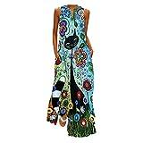 TUDUZ Vestidos para Mujer Verano Elegante Casual Moda Vintage Floral Impresos Maxi Vestido Playeros Fiesta Cóctel Falda de Playa Larga Cuello en V sin Mangas Dress Vacaciones(C Azul,L)