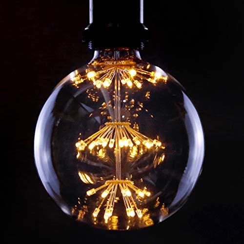 LED Vintage Glühbirne E27 Fireworks Ball 3W LED Dekorative Glühlampe G125 Große Kugel Warmweiß 2700K Antike Lampen für Weihnachten Party Urlaub Hochzeit Restaurant Haus Café, Nicht Dimmbar