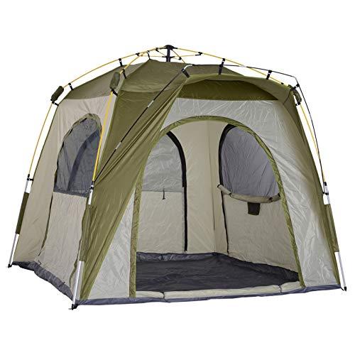 Outsunny Tente de Camping familiale 4 Personnes Montage instantanée Pop-up 4 fenêtres Pare-Soleil dim. 2,4L x 2,4l x 1,95H m Fibre Verre Polyester Vert Gris