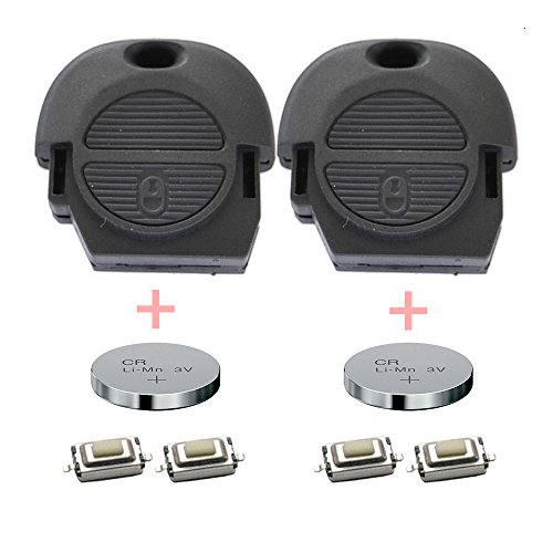 Repair Reparatur Satz Gehäuse Funkschlüssel Fernbedienung Autoschlüssel 2X Gehäuse 4X Mikrotaster 2X CR2016 Batterie kompatibel mit Nissan