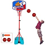Basketball Hoop for Kids Toddler Toys Portable Adjustable Height 2.9FT-6.2FT with 2 Balls Mini Basketball Hoops Indoor Goals Youth Outdoor Gifts Boy Girl Age 1 2 3 4 5 6 7 8 Year Old Backyard Game