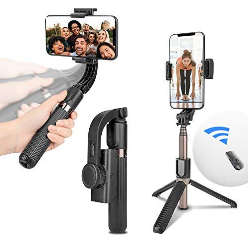 Gimbal Selfie Stick Stativ - Erweiterbarer Bluetooth Handy Stativ met Stabilisator und Fernauslöser, 3 in 1 Anti-Shake Smartphone Stativ für alle iPhone Android Smartphones