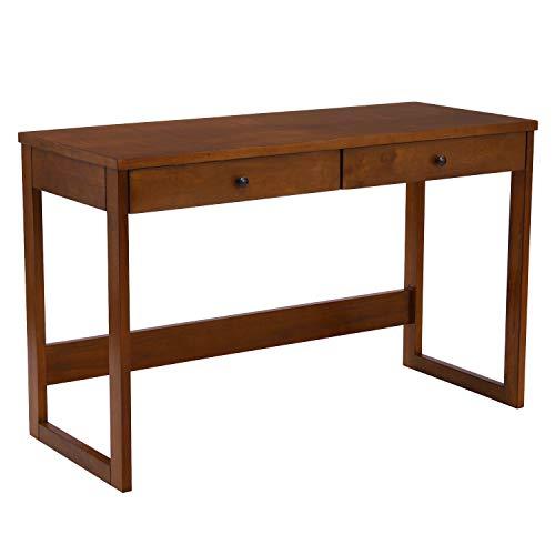 B&D home - Kleiner Schreibtisch Holz 120 x 50 cm | schmaler Bürotisch mit 2 Schubladen | Computertisch, Homeoffice, Büro, Arbeitszimmer, platzsparend, Vintage Optik, einfacher Aufbau