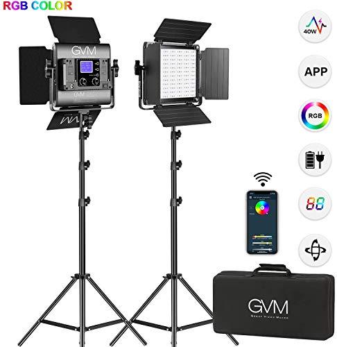GVM Kit d'éclairage vidéo RVB LED, lumières vidéo de contrôle APP de Sortie en Couleur avec Support 3200K-5600K Éclairage de Photographie LED pour Les lumières de Studio Youtube