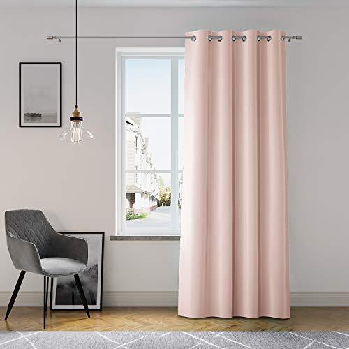 AmeliaHome Vorhang 140x250 cm Fensterdekoration Ösenschal Dekoschal Dekorvorhang Oxford Solid Puderrosa