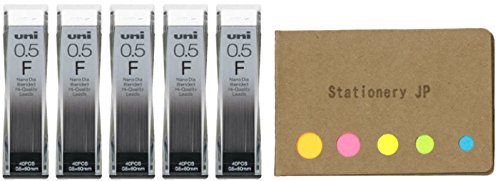 Uni NanoDia Mechanical Pencil Leads, 0.5mm, F, 5-Pack, Total 75 Leads, Sticky Notes Value Set