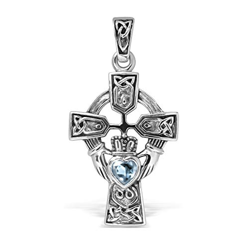 WithLoveSilver Sterling Silver 925 Celtic Cross and Claddagh Natural Blue Topaz Heart Pendant Blue Topaz Heart Cross