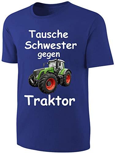 Kinder Sprüche T-Shirt Tausche Schwester gegen Traktor Blau Größe 152