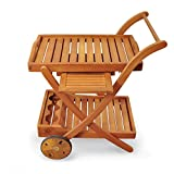 Indoba Hochwertiger Servierwagen Garten aus Holz Draußen Outdoor Terasse Balkon wetterfest