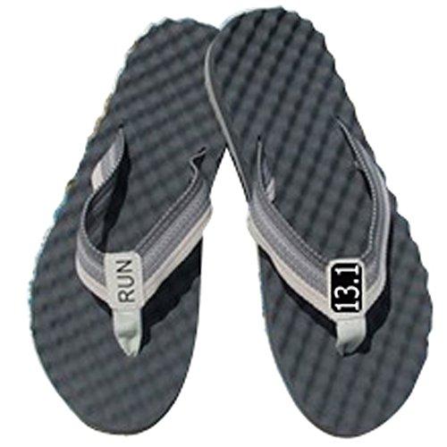 RunningontheWall Recovery Sandals, Running Flip Flop, Massaging Post-Run Footwear, Black-13.1