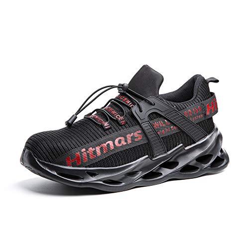 Zapatos de Seguridad para Hombre Zapatillas Deportivas de Mujer Puntera de Acero Calzado de Industrial Trabajo Construcción Botas Tácticas Trekking I Rojo EU43