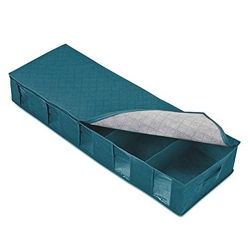 PPuujia Bolsa de almacenamiento rectangular Bolsa de almacenamiento debajo de la cama, armario, zapatos, funda organizadora para el hogar, contenedor de tela no tejida para paños (color azul)