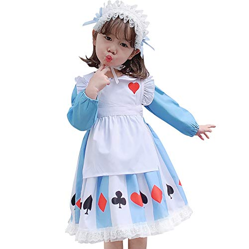QYF Kleine Mädchen Alice im Wunderland Kleider Weihnachten Cosplay Maid Lolita Kostüme (Größe : 100cm/39.9in)
