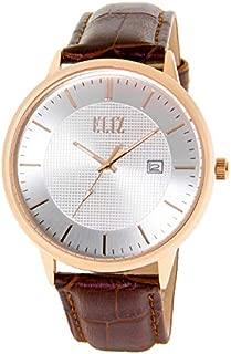 ELIZ Men's Black Leather Watch with Steel Case