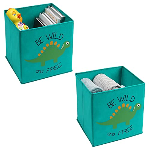 Young Street 2 Pcs Animal Foldable Storage Toy Boxes/Bins/Cubes - Organizer Container Baskets for Kids Toddlers - Collapsible Non-Woven Cloth Toy Storage Cubes (11 x 11 x 11 Inch, Green Dinosaur)