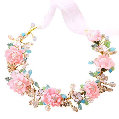 QINJLI bruid Tiara, roze bloem kristal haarband bruiloft kroon haarsieraad 4.5 * 36,5 cm