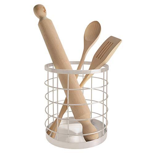 iDesign Escurre cubiertos de cocina para la encimera, portacubiertos redondo de metal, porta utensilios con elegante diseño de rejilla, plateado mate