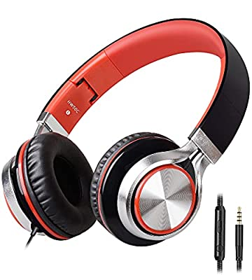 Headphones,BienSound HW50C Stereo Folding Headsets Strong Low Bass Headphones with Microphone for iPhone, All Android Smartphones, PC, Laptop, Mp3/mp4, Tablet Macbook Earphones (Black&Red) from Biensound