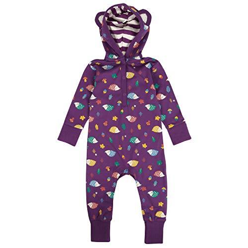 Piccalilly Combinaison Bébé à Capuche Coton Bio Doux + Confortable Mixte Hérisson Violet - Violet - 18 mois