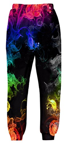Belovecol 3D Print Graphic Jogger for Mens Womens Novelty Casual Baggy Sweatpants Joggers Trousers Colorful Smoke L