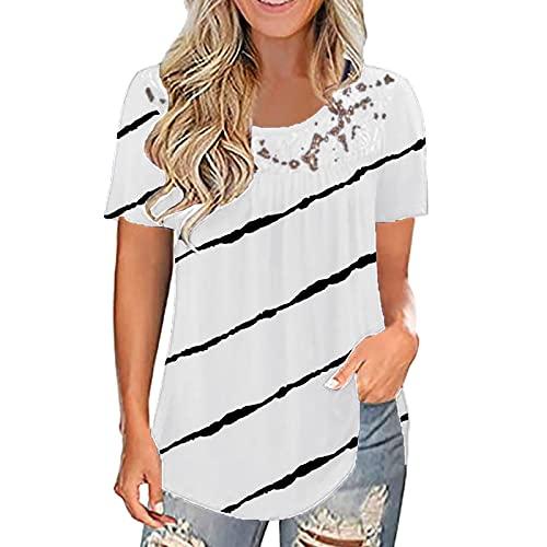 XOXSION Camiseta de verano para mujer, con estampado de encaje, cuello redondo, manga corta, túnica A blanco. XXXXXL