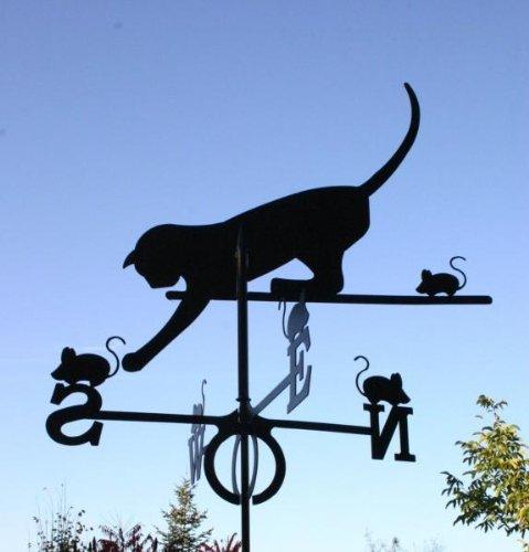 SvenskaV Wetterfahne Motiv Katze, Windfahne, Dachfahne, Stabfahne, Maße 59 x 100 cm, aus Stahlblech, schwarz