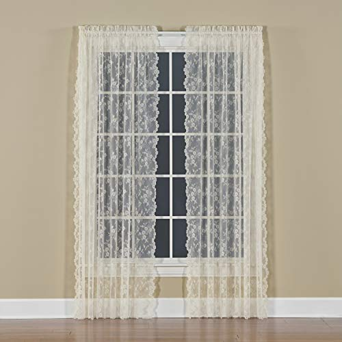 SKL HOME by Saturday Knight Ltd. Petite Fleur Curtain Panel, Ivory, 56 inches x 63 inches