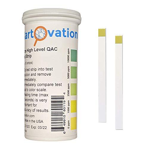 Tiras de prueba de desinfectante de amonio cuaternario de muy alto nivel (QAC, Multi Quat), 0-10.000 ppm [Vial de 50 tiras]