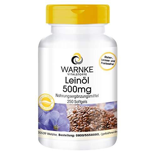Aceite de Linaza 500mg – Prensado en frío – 58% de Ácido Alfa – Linoleico – Ácidos grasos Omega 3 – 250 cápsulas