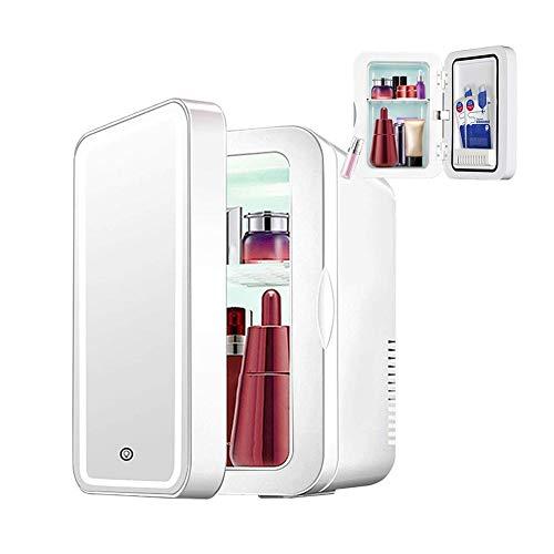 Sits Espejo de Maquillaje 2 en 1 Nevera para el Cuidado de la Piel con luz LED Nevera portátil compacta para el Dormitorio, la Oficina, el Coche del Dormitorio