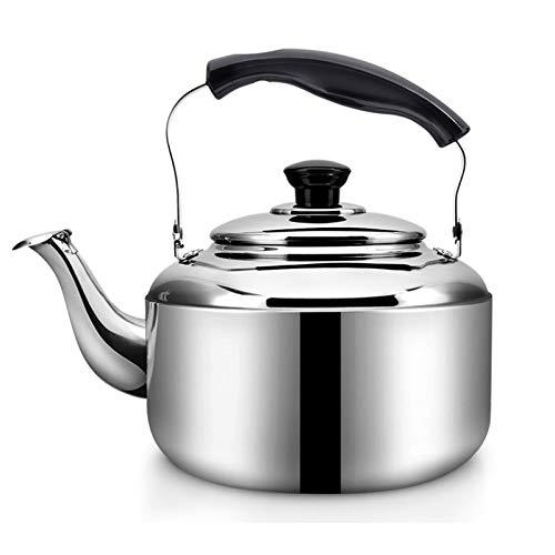 tea kettle Bouilloire Sifflet Thé for Stove Top - Acier Inoxydable, Poignée Ergonomique Résistant À La Chaleur, Maison Cuisine Bouilloire 3L / Argent (Couleur : Silver, Taille : 3L)