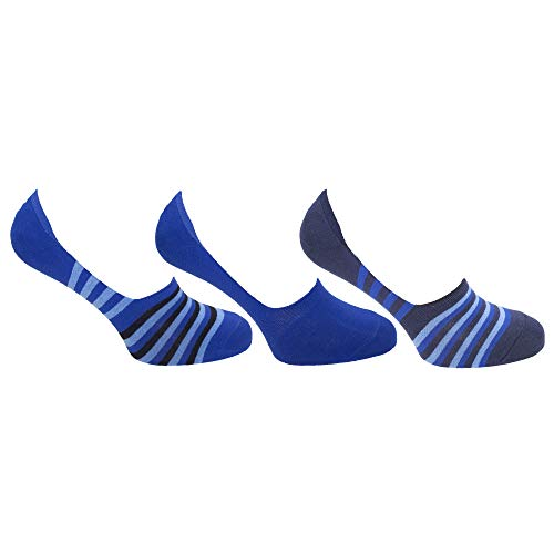 Floso - Calcetines de entrenamiento invisibles hombre caballero (Pack de 3) (41-46 EU) (Azul/Negro)
