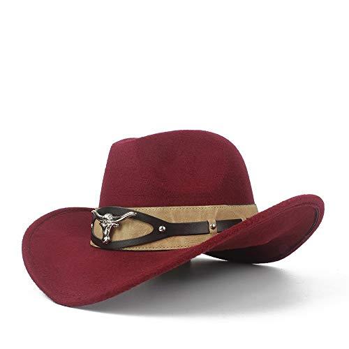 ZHOUYANJUN mannen vrouwen wol Western Cowboy hoed met koe kop lederen band pop brede rand Jazz Church hoed zombrero hoed maat 56-58 cm 56-58 bordeauxrood (wine red)
