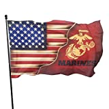 United States Marine Corps Flag US Marines Veteran Flags 3x5 Ft Outdoor House Porch Welcome Holiday Decoration Christmas/Birthday/Happy New Banners Wood Grain America USMC Flag