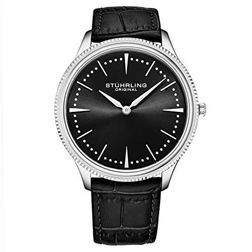 Stuhrling Original Mens Dress Watch Slim Analog Watch with a Black Genuine Leather Strap Minimalist Wrist Watch with Quartz Movment Watches for Men