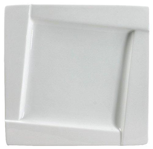 AMBITION Talerz obiadowy Kubiko 31 cm kwadratowe naczynia ze szkła hartowanego talerz talerz talerz talerz płaski zestaw prezent nowoczesny elegancki biały