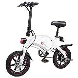 DYU D3+ Bicicleta Eléctrica Plegable, Motor de 250W hasta 25 Km/h, Bateria de Litio 10Ah, duración de la batería 65-70 Km, 14 Pulgadas Bici Electrica con Pedales para Adulto Unisex-Blanco