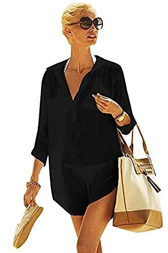 Yuson Girl Mujer Ropa De Playa Suelto Pareo Largo Verano Pareo Playa Mujer Tallas Grandes Pareo Vestido Mujer Camisa Grande De Playa Pareo Bikini Cover Up Pareo Transparente Gasa (Nergo)