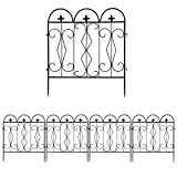 unho Metal Garden Fence, 5Panels Outdoor Decorative Wire Fencing 24x24 inches Lawn Landscape Path Border Garden Flowers Bed Edging Small Pet Fences Barrier Decor (Item No.7)
