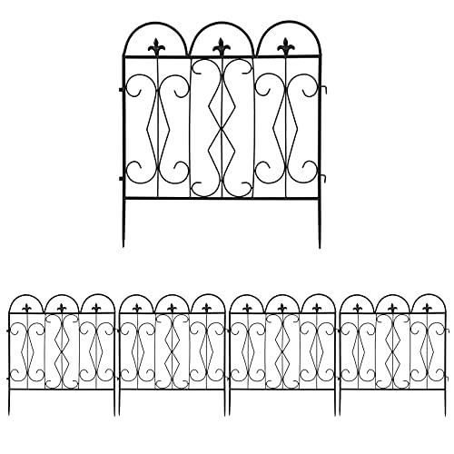 LUVODI Gartenzäune 61 x 70cm Beetzaun für Dekoration, 5 Stück Metall Zaun Vintage Rankhilfe Rankgitter Schwarz für Garten Hinterhof Terrasse