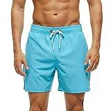 ZMK-720 Shorts Deportivos Hombre Pantalones cortos de tablero de color sólido para hombres, pantalones de playa de secado rápido con bolsillos con cremallera y forro de malla Running
