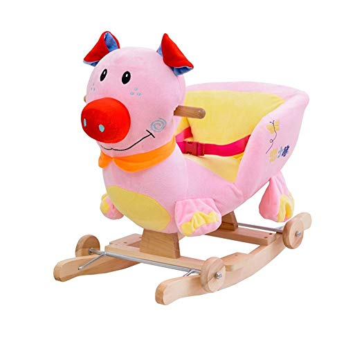 LALAWO Children's leisure chair Rocking Horse Music Children's Wooden Horse Baby Solid Wood Dual-use Rocking Chair Baby Educational Toys Gift 60 * 28 * 41cm
