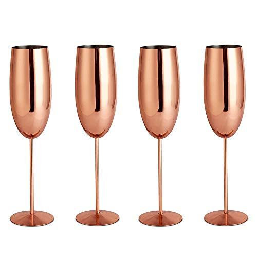 SODIAL 304 en Acier Inoxydable Verre à Vin Rose Or Verre à Vin Jus de Jus Boisson Champagne Verre Party Bar Ustensiles de Cuisine 200 ML