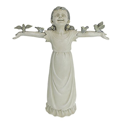 Design Toscano NG34012 Basking in God's Glory Little Girl Outdoor Garden Statue, Medium, 18 Inch, Two Tone Stone