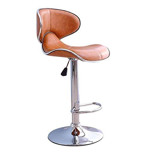 Taburete de bar moderno simple creativo giratorio levantar la silla de diseñador de patas altas de cuero del asiento de la cafetería del mostrador del restaurante del sillón naranja