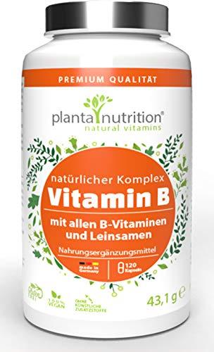 Vitamin B Komplex natürlich, vegan, hochdosiert, mit Vitamin B12, B1, B2, B3, B5, B6, B7, B9, mit Leinsamenmehl und Rote Beete, 4-Monatskur, 120 Kapseln