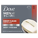 Dove Men+Care Body and Face Bar More Moisturizing Than Bar Soap Deep Clean Effectively Washes Away Bacteria, Nourishes Your Skin 3.75 oz 8 Bars